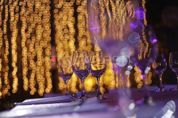 Bankiet bokeh okulary tabeli światła świetle Zdjęcia stock © eldadcarin