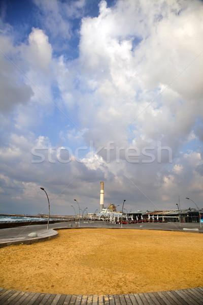 Kikötő erőmű kémény kilátás klasszikus most Stock fotó © eldadcarin