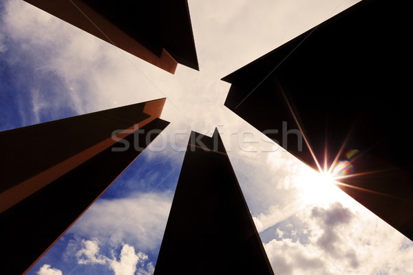 Abstract Diminishing Square and Cloudy Sky Stock photo © eldadcarin
