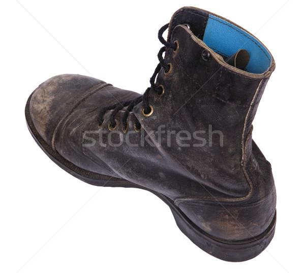 Isolated Used Army Boot - High Angle Diagonal Heel Stock photo © eldadcarin