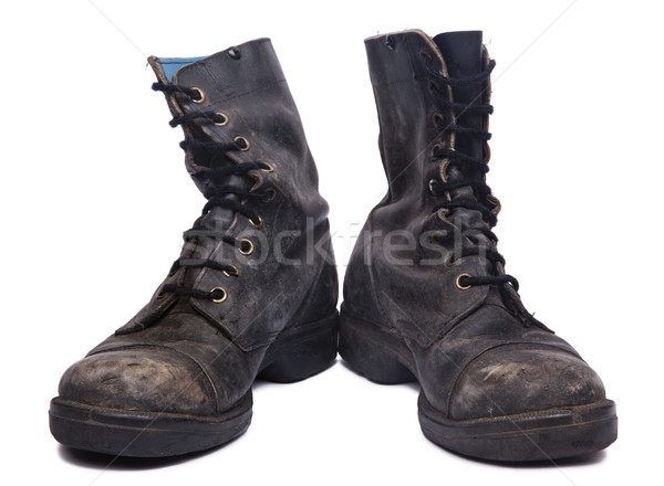 Isolated Used Army Boots - Frontal Stock photo © eldadcarin