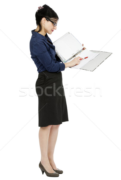 Business Woman Pointing at Document Stock photo © eldadcarin