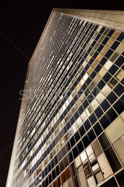 Gratte-ciel immeubles de bureaux rideau mur nuit Photo stock © eldadcarin