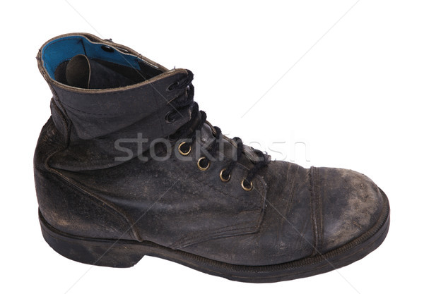 Isolated Used Army Boot - High Angle Side View Stock photo © eldadcarin