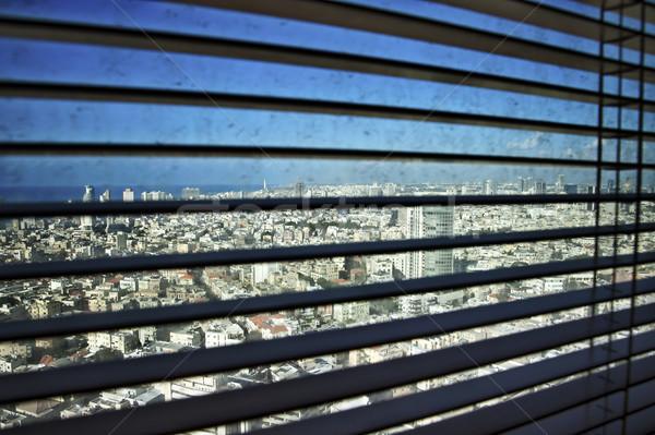 Reluxa nyitva pozició koszos ablak épületek Stock fotó © eldadcarin