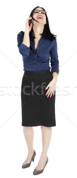 Business Woman Laughing on the Phone Stock photo © eldadcarin
