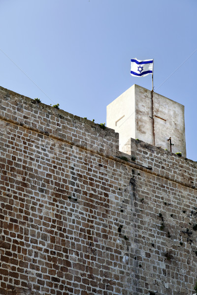 Fort Israele bandiera città vecchia rovine settentrionale Foto d'archivio © eldadcarin