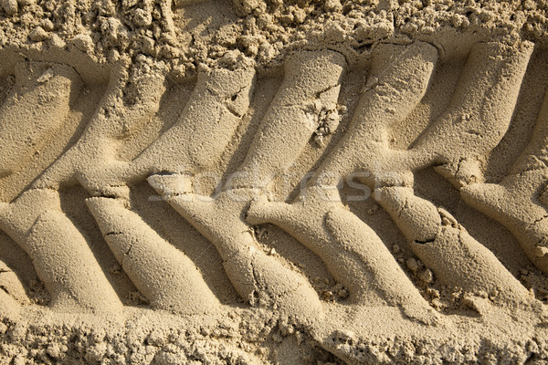 Tire Tracks in the Sand - Frontal Close Up Stock photo © eldadcarin