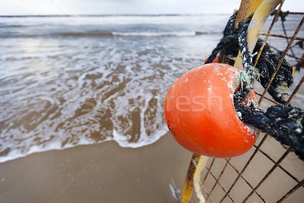 Inverno spiaggia boa recinzione grandangolo primo piano Foto d'archivio © eldadcarin