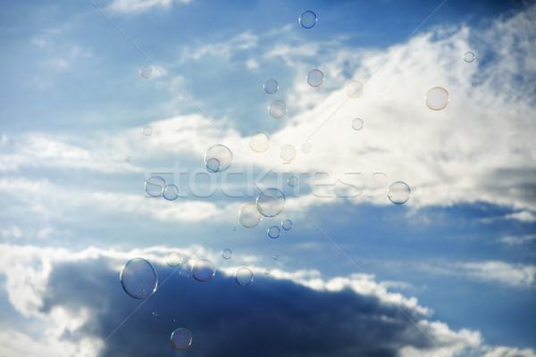 Kabarcıklar bulutlu gökyüzü sabun hava Stok fotoğraf © eldadcarin