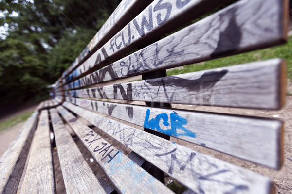 Graffitis couvert banc grand angle vue parc Photo stock © eldadcarin