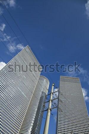 Wieżowce trzy elektrycznej piękna niebieski Zdjęcia stock © eldadcarin