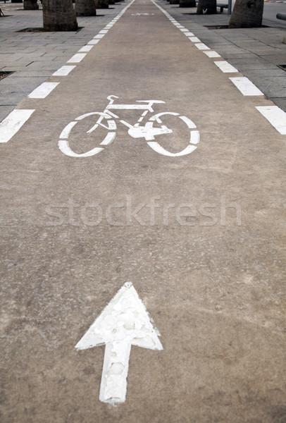 自転車 レーン 市 トラフィック 矢印 方法 ストックフォト © eldadcarin