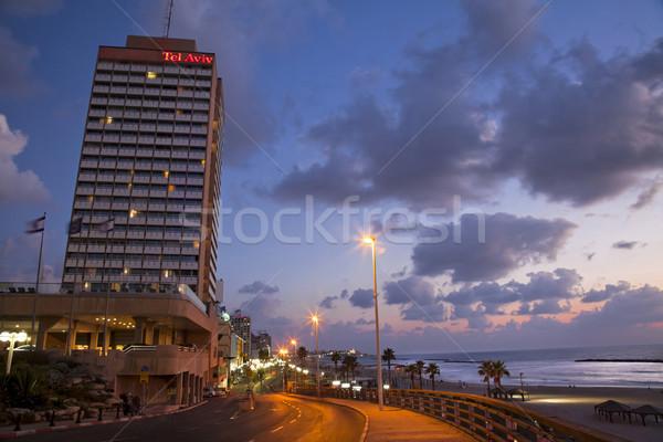 Tel-Aviv Boardwalk & Beach at Dusk Stock photo © eldadcarin