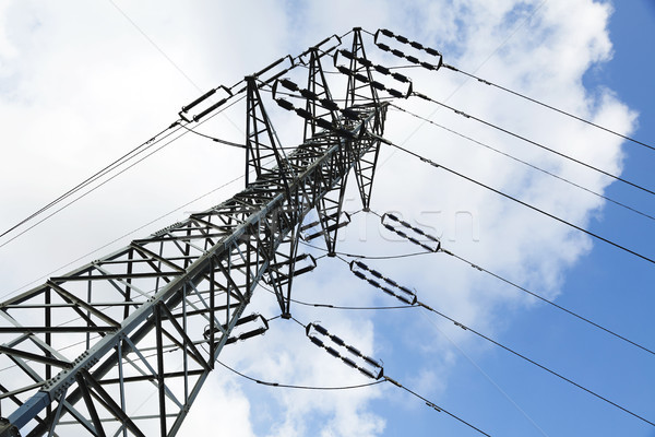 Low angle tilted shot of a high-voltage electricity pylon and power lines, on the background of the  Stock photo © eldadcarin