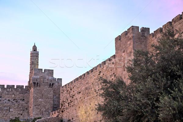 Tower of David at Dusk Stock photo © eldadcarin