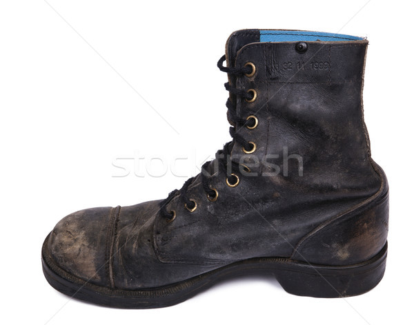 Isolated Used Army Boot - Inner Side Stock photo © eldadcarin