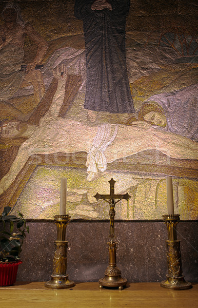 Post Crucifixion Mosaic - Church of the Holy Sepulchre Stock photo © eldadcarin
