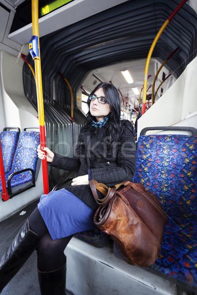 автобус женщину кавказский взрослый рано 30-х годов Сток-фото © eldadcarin