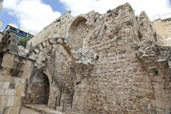 Stockfoto: Oude · Jeruzalem · ruines · oude · kwartaal