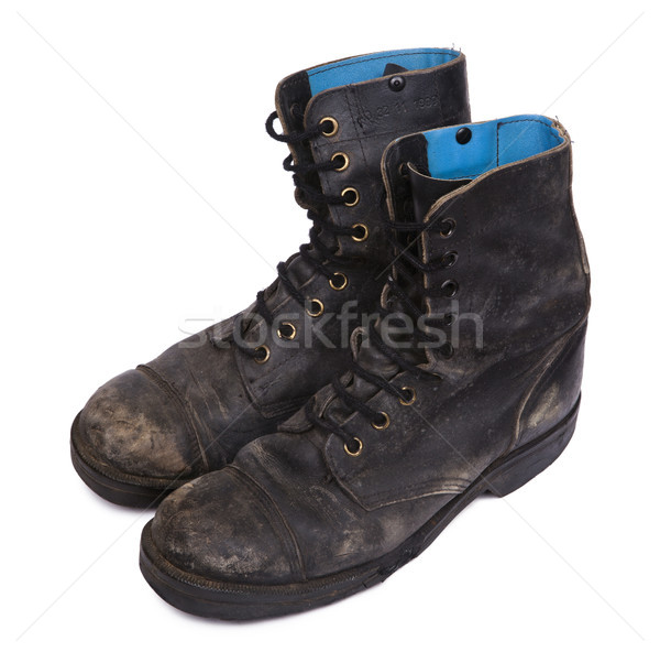 Isolated Used Army Boots - High Angle Diagonal Stock photo © eldadcarin