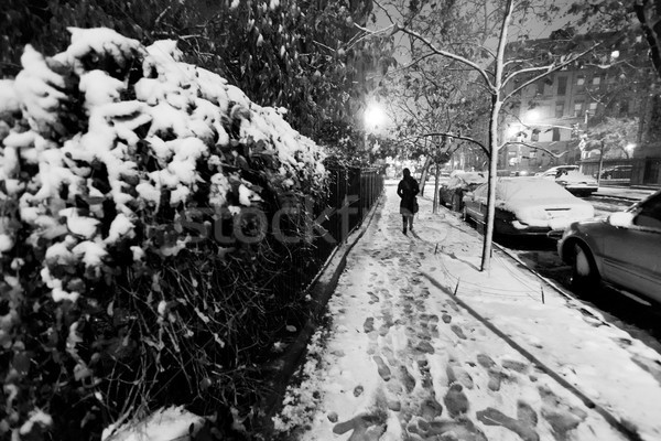 Lone woman walking on the snow covered pavement of a Harlem stre Stock photo © eldadcarin