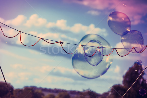 Bubble Wand Soap Sud Game Playing Outdoors Cross Process Xpro Stock photo © eldadcarin