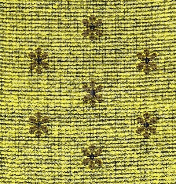 Cotton Fabric Texture -Yellow with Khaki Patterns XXXXL Stock photo © eldadcarin