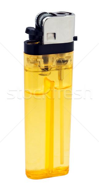 Laranja isqueiro simples plástico macro isolado Foto stock © eldadcarin