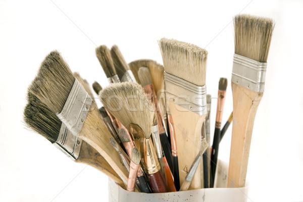 Isolated Used Paint Brushes Stock photo © eldadcarin
