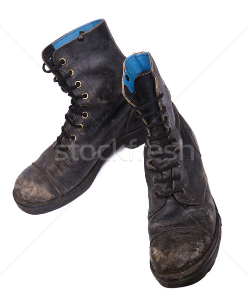 Isolated Used Army Boots - High Angle Tit Stock photo © eldadcarin