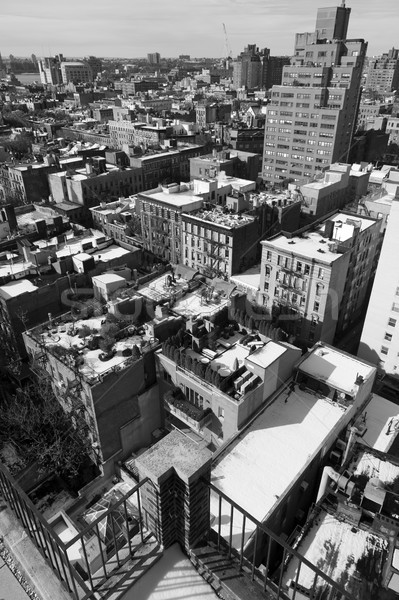 West Village Snow Covered Roof Tops Manhattan New-York Monochrom Stock photo © eldadcarin