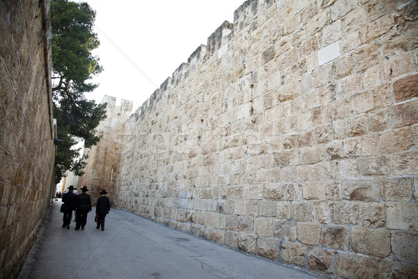 Weg oude Jeruzalem muren muur stad Stockfoto © eldadcarin
