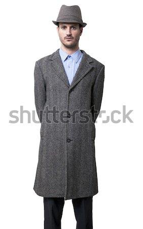 Devoir homme gris chapeau 1930 Photo stock © eldadcarin