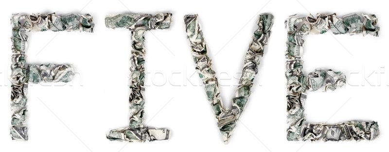 öt 100 számlák szó ki izolált Stock fotó © eldadcarin