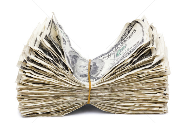 Isolated Wrinkled 100 US$ Bills Stack - Rubber Band Stock photo © eldadcarin