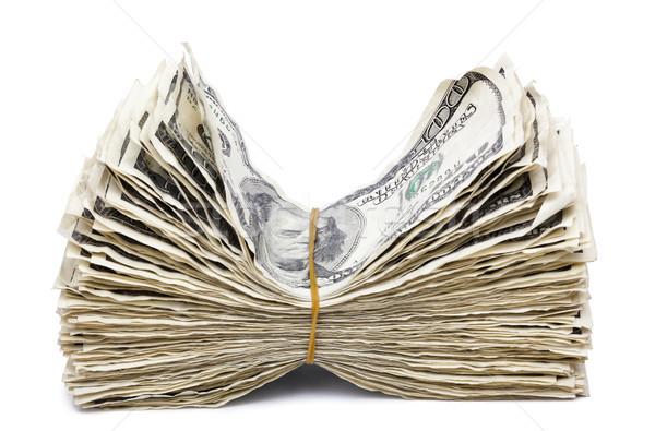 Izolált ráncos 100 számlák boglya gumiszalag Stock fotó © eldadcarin
