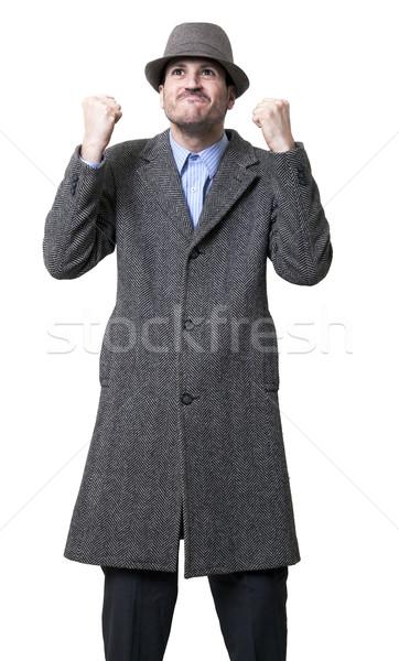 Mężczyzna szary hat Zdjęcia stock © eldadcarin