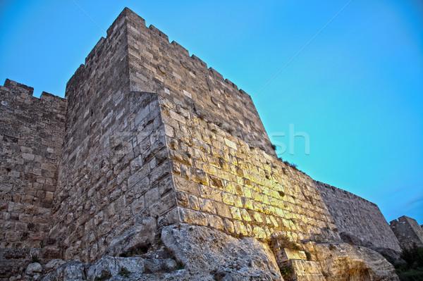 Old Jerusalem City Wall at Dusk Stock photo © eldadcarin