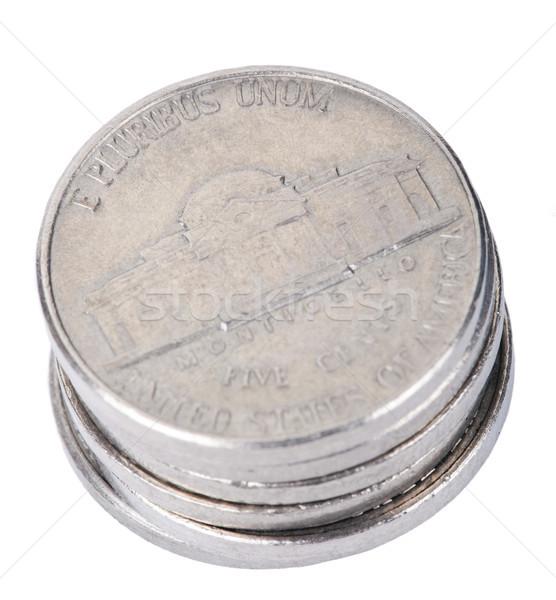 Isolated Nickel Coins Stack Stock photo © eldadcarin
