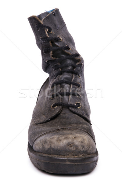 Isolated Used Army Boot - Frontal Stock photo © eldadcarin