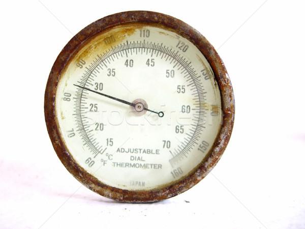 Ajustável discar termômetro velho branco gráfico Foto stock © eldadcarin