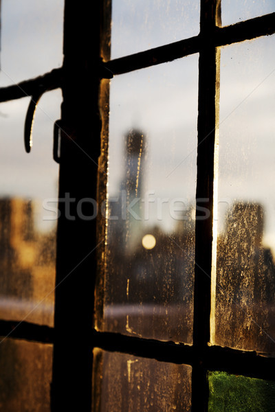 Lower Manhattan Skyline Behind Stained Glass Stock photo © eldadcarin