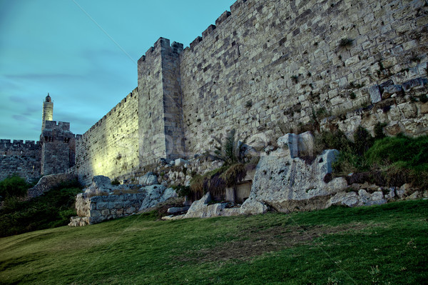 Tower of David and Old Jerusalem City Wall at Dusk Stock photo © eldadcarin