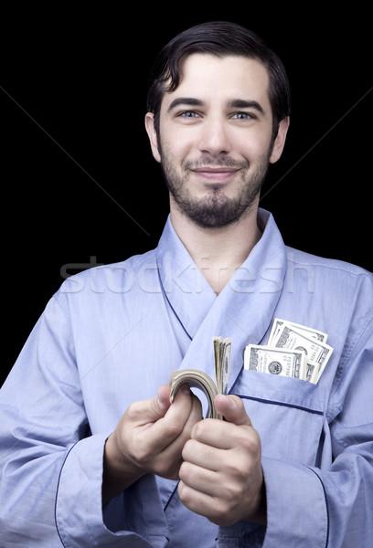Tevreden bum volwassen man 30 jaar Stockfoto © eldadcarin