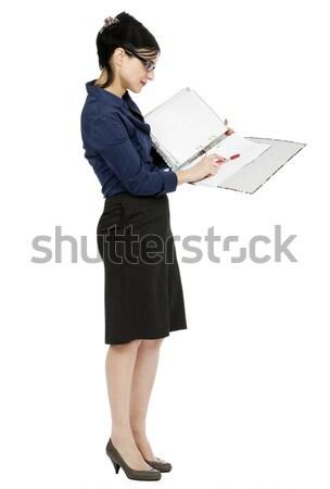Business Woman Reading File Stock photo © eldadcarin