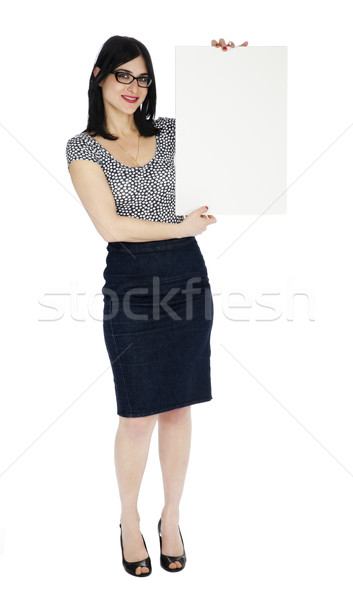 Isolated Pretty Woman Holding Sign Stock photo © eldadcarin