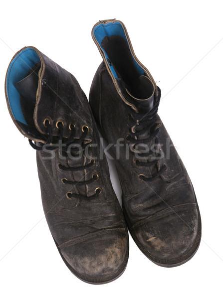 Isolado usado exército botas topo ver Foto stock © eldadcarin