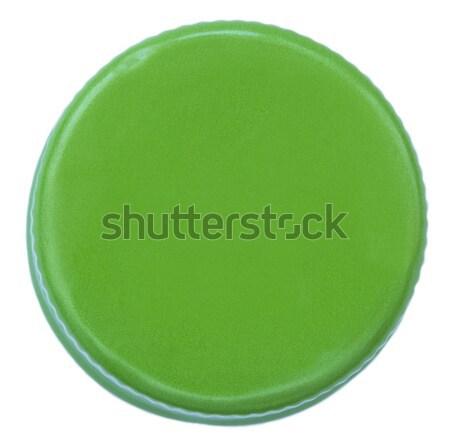 Odizolowany zielone metal butelki cap górę Zdjęcia stock © eldadcarin