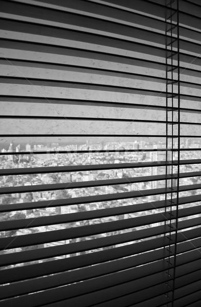Tende alla veneziana open posizione sporca finestra edifici Foto d'archivio © eldadcarin